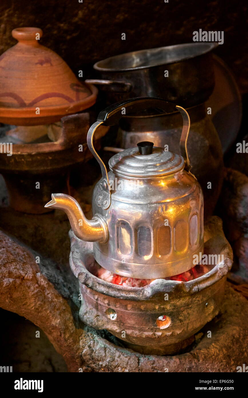 Traditional tea ceremony in Berber house.  Ourica Valley, Morocco Stock Photo