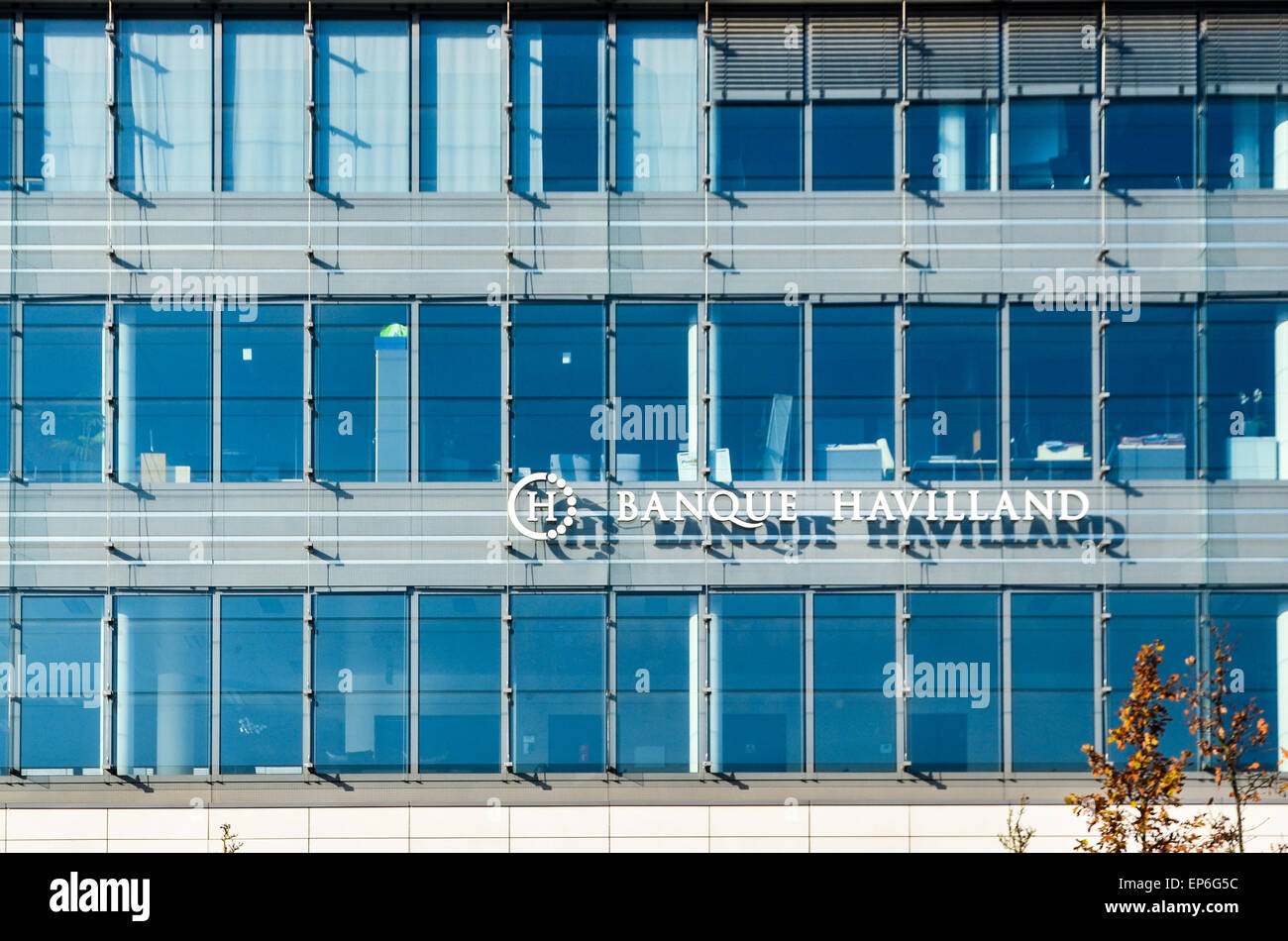 Headquarters of the private bank Havilland, in Kirchberg, the financial district of Luxembourg - Stock Image