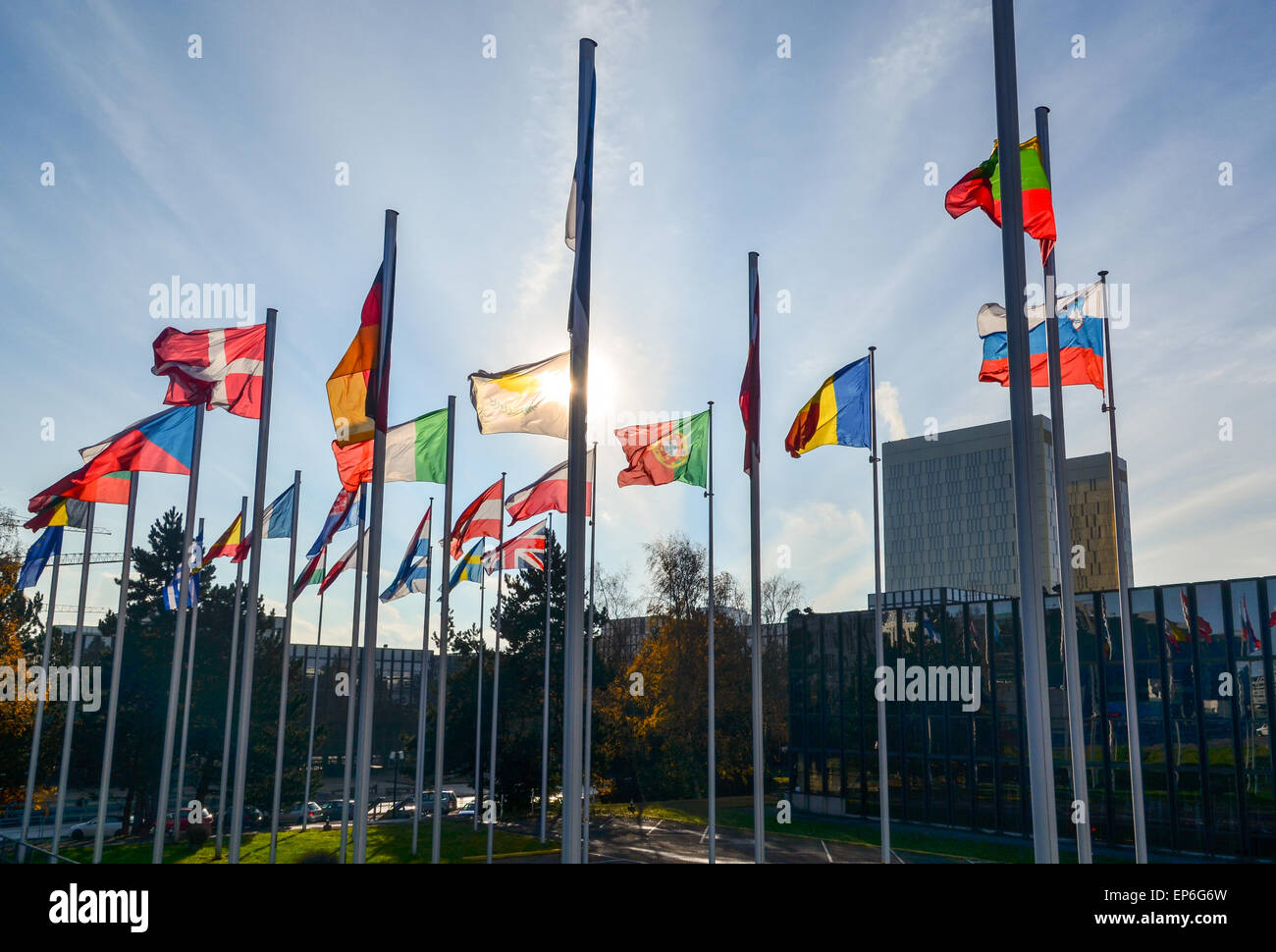 Flags of the European Union countries at the European Commission, European Quarter, Luxembourg Stock Photo