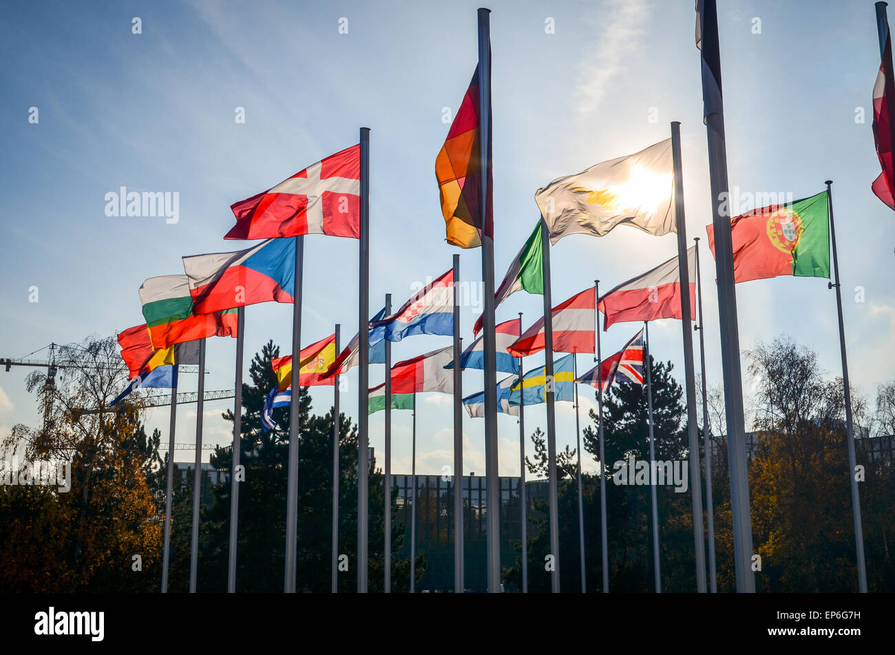 Flags of the European Union countries at the European Commission, European Quarter, Luxembourg - Stock Image
