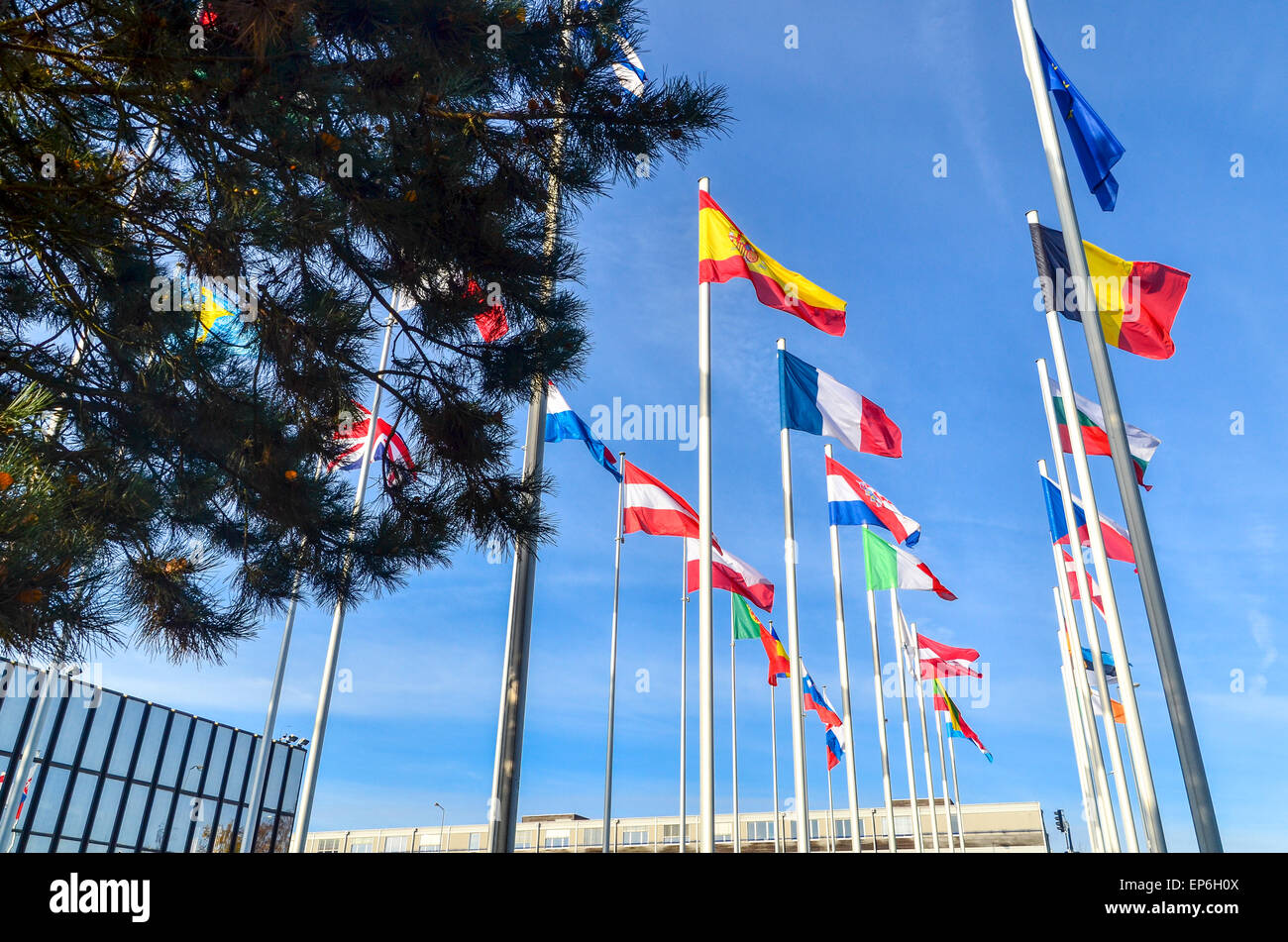 Spain, Romania, France ... Flags of the European Union countries at the European Commission, European Quarter, Luxembourg - Stock Image
