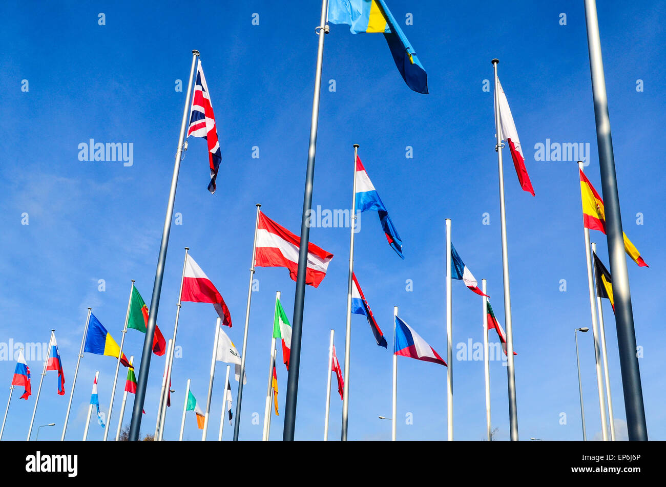 Union Jack and flags of the European Union countries at the European Commission, European Quarter, Luxembourg - Stock Image