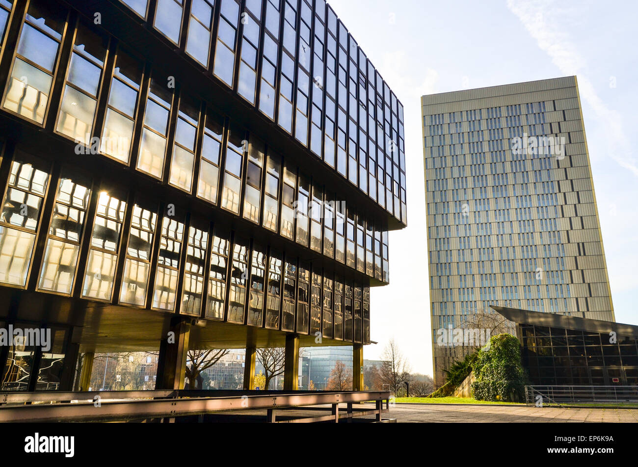 Morning light shining over the European Court of Justice and European Commission in Kirchberg, Luxembourg - Stock Image