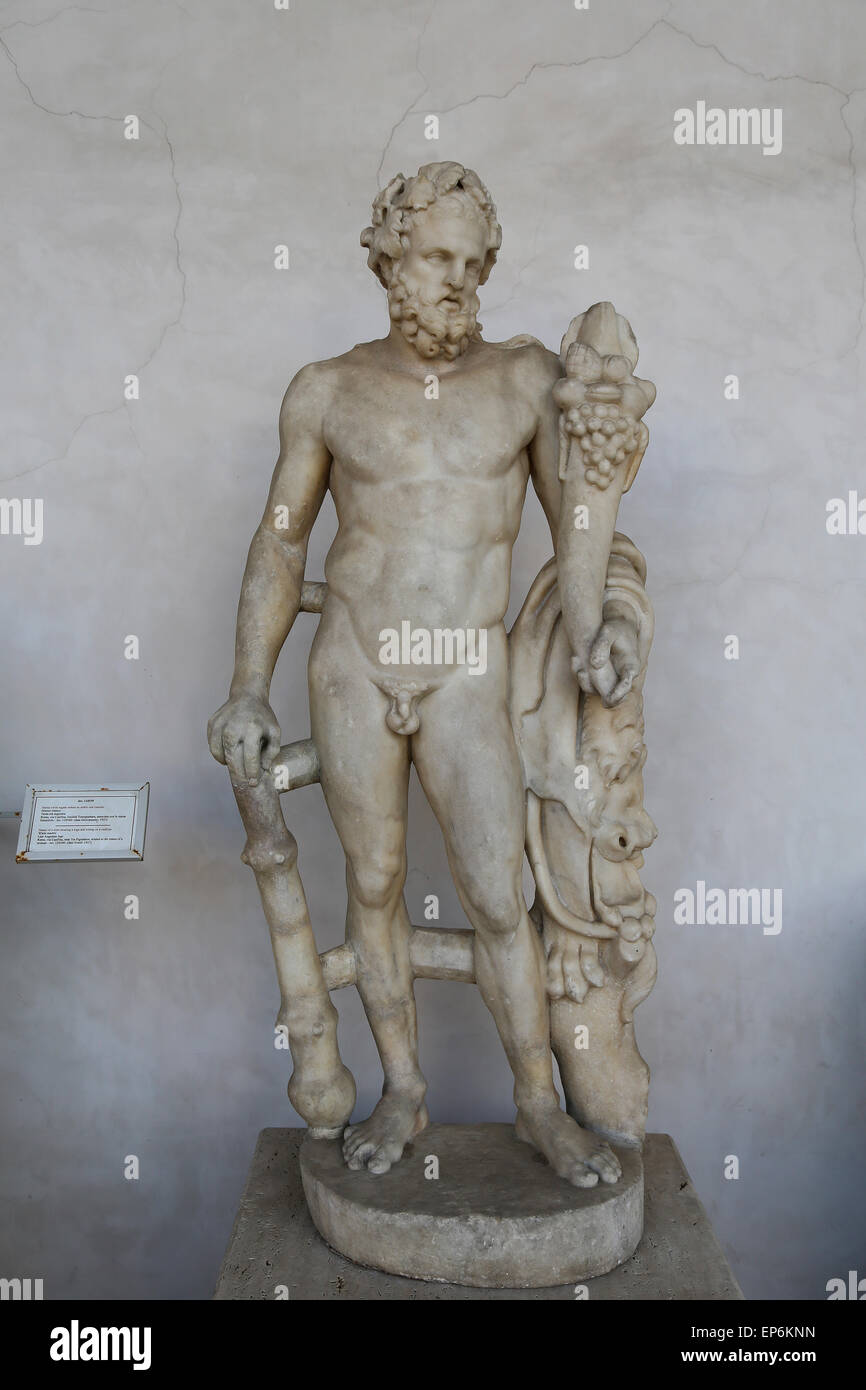 Heracles. Roman statue. Marble. National Roman Museum. Baths of Diocletian. Rome. Italy. - Stock Image