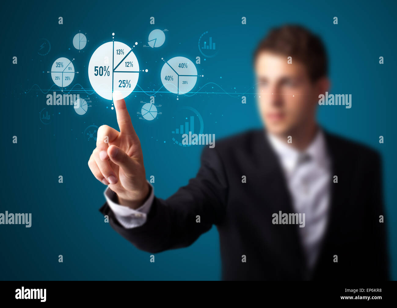 Businessman pressing modern business type of buttons - Stock Image