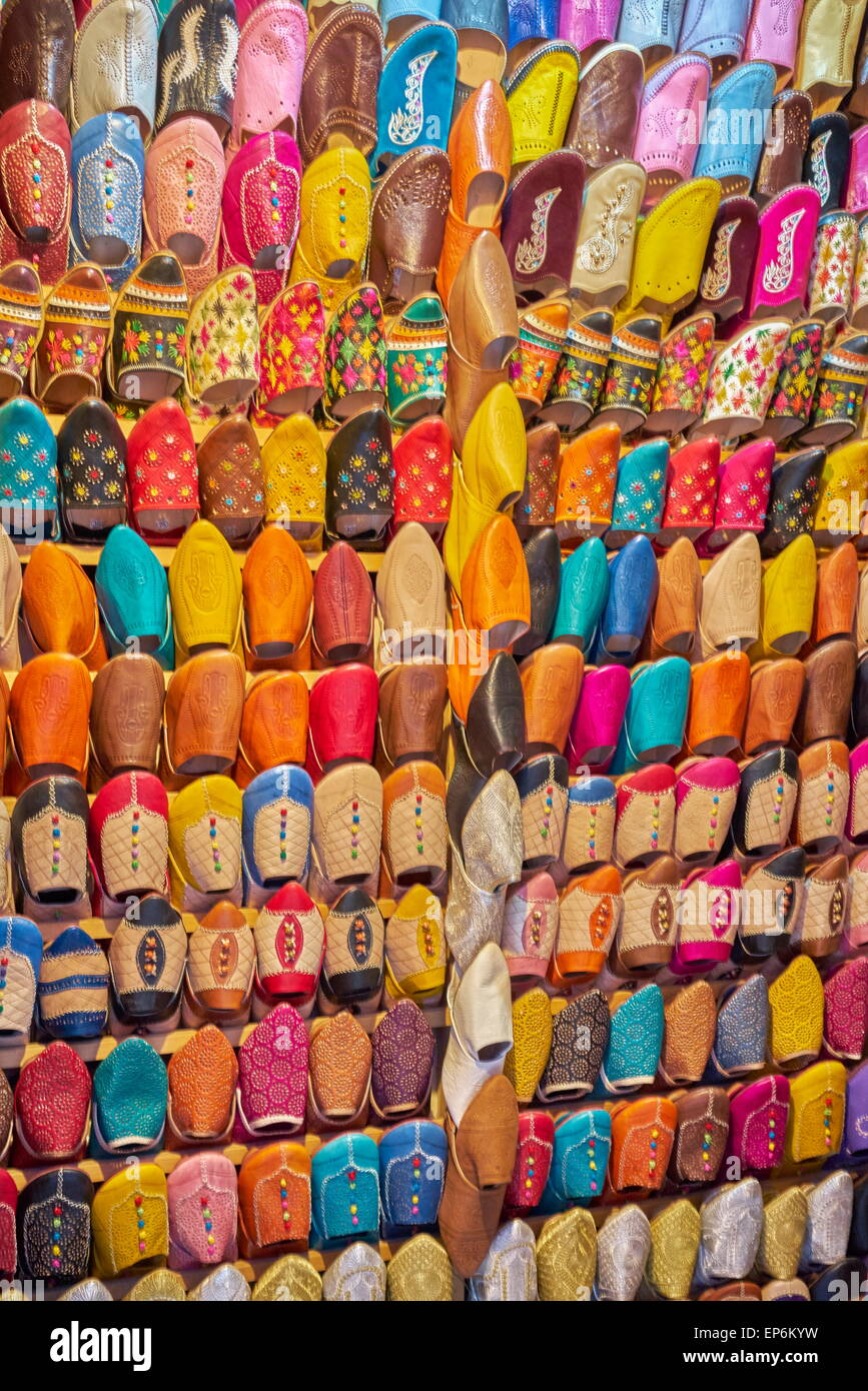 Shoe store. Babouches, brightly coloured traditional Moroccan slippers. Morocco Stock Photo