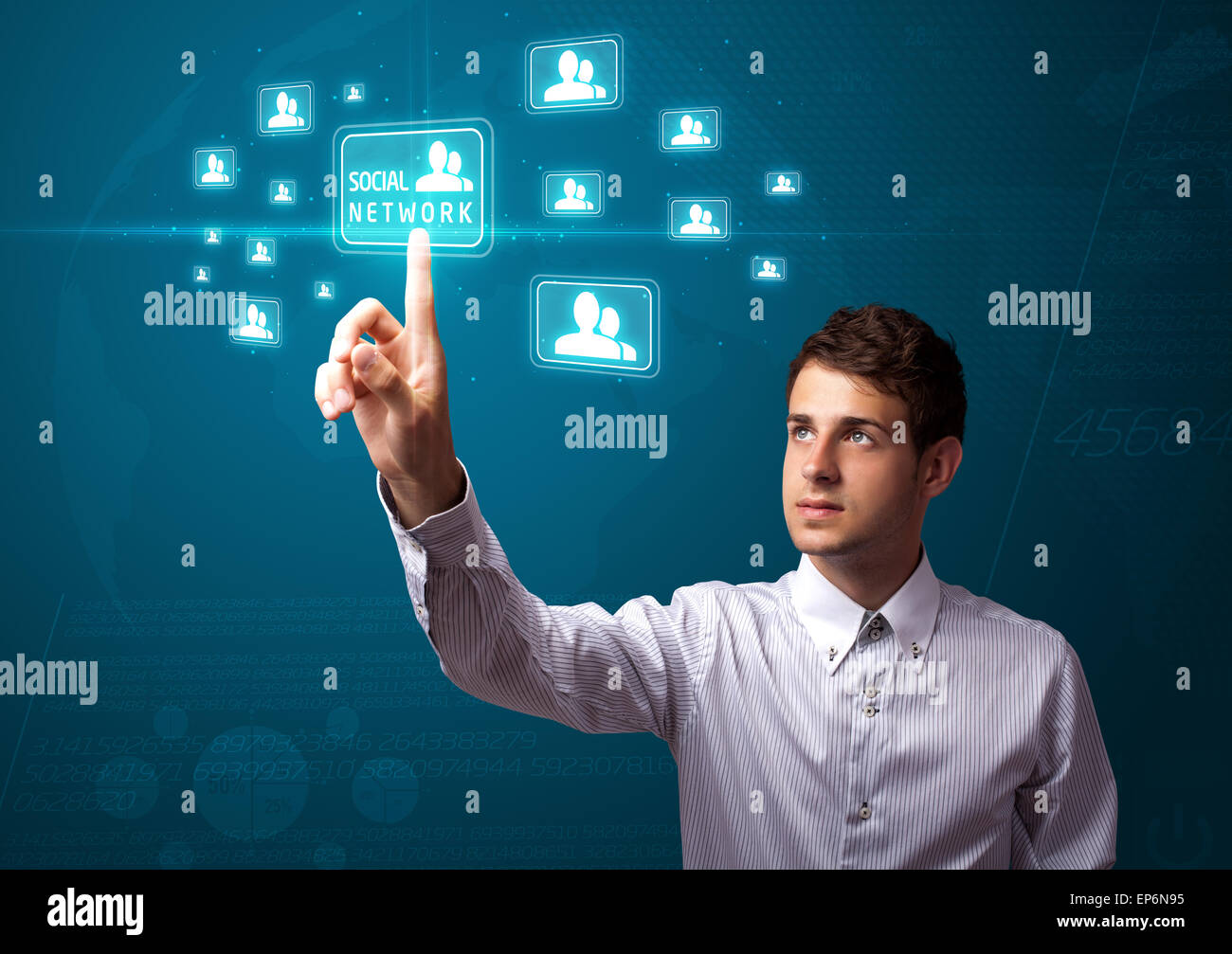 Businessman pressing modern social type of icons - Stock Image