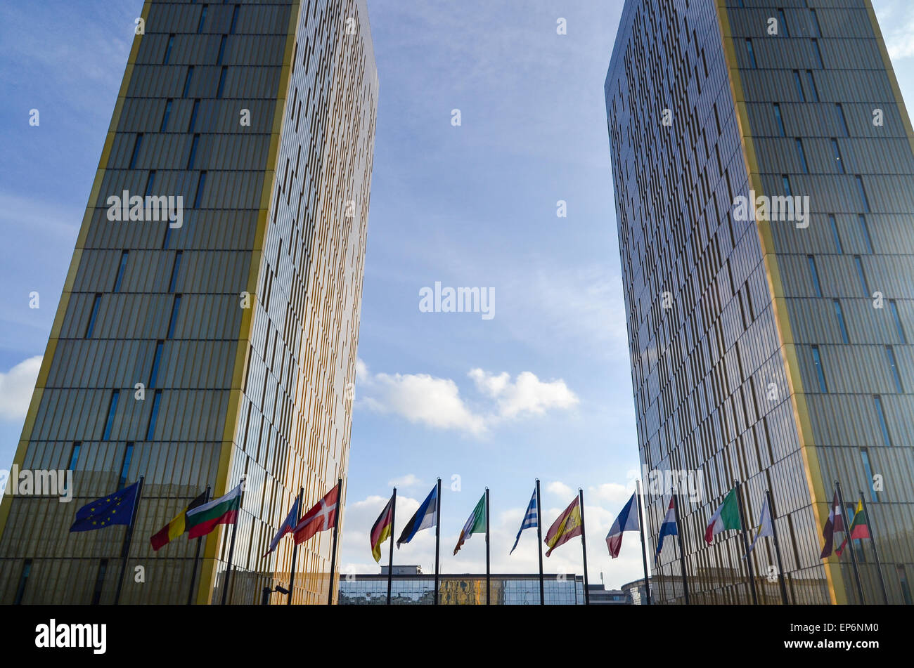 Golden twin towers of the Court of Justice of the European Union, in European Quarter, Kirchberg, Luxembourg Stock Photo