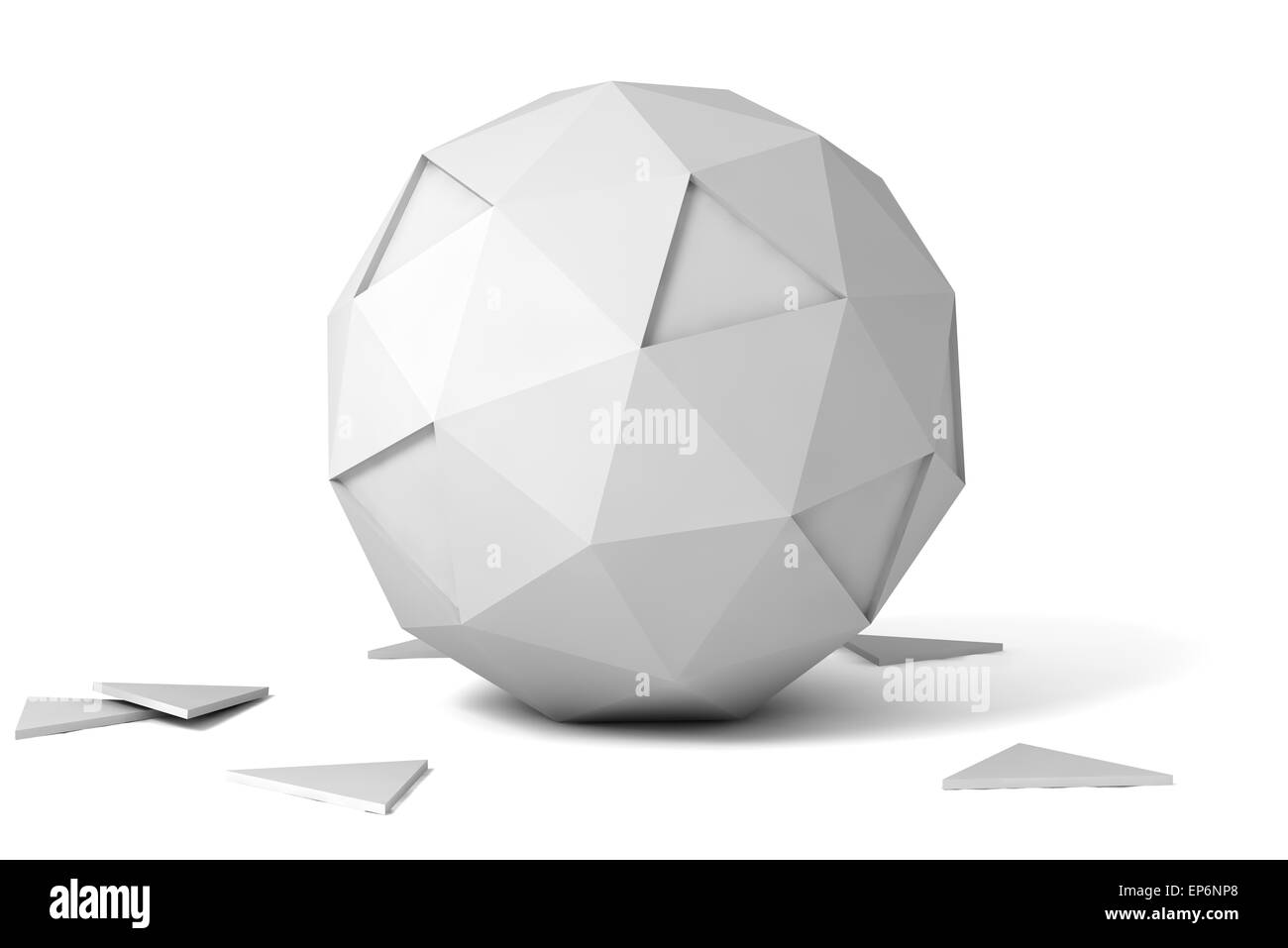 3d gray polyhedron on white background with shadow. - Stock Image