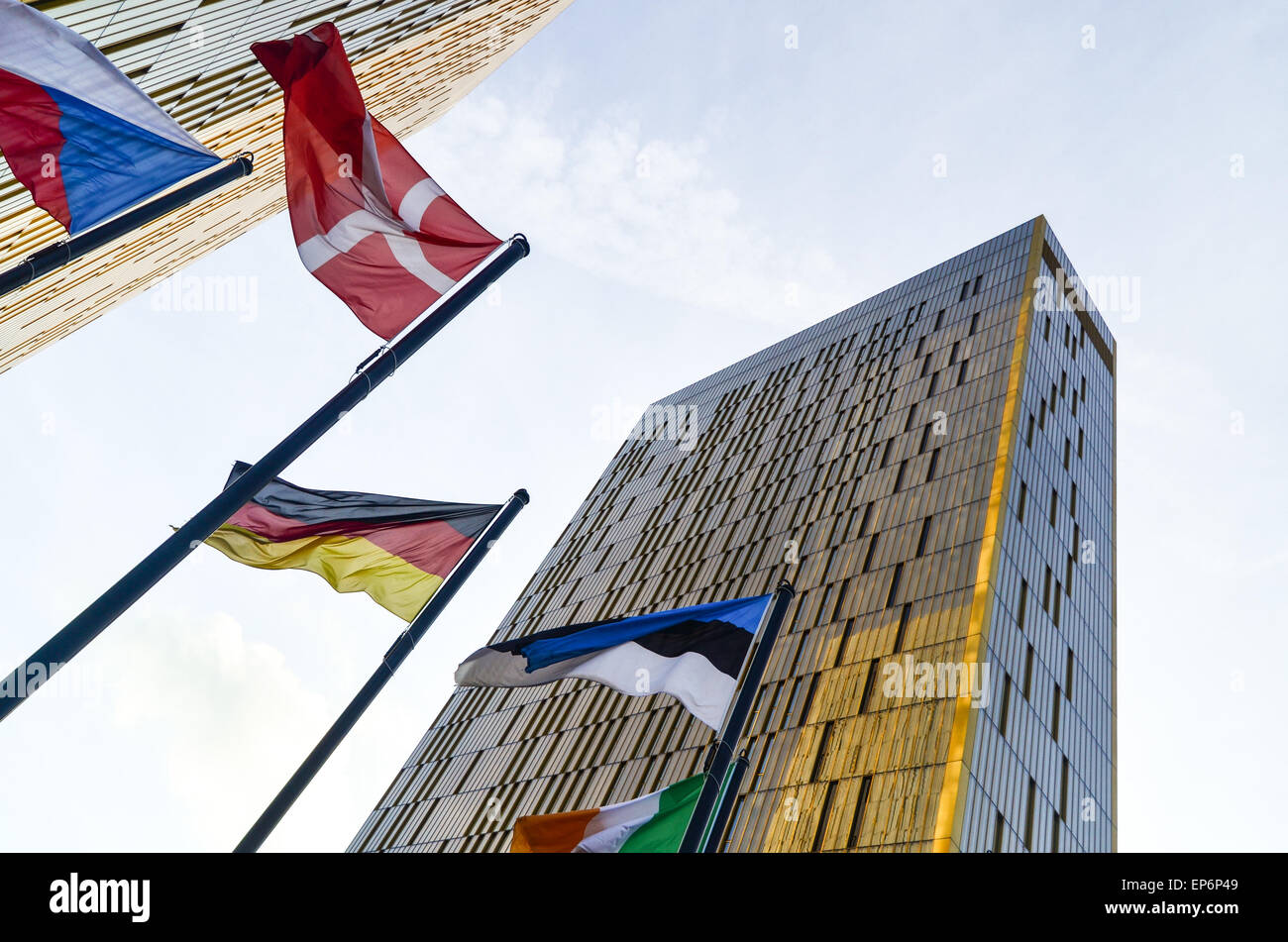 Golden twin towers of the Court of Justice of the European Union, in European Quarter, Kirchberg, Luxembourg, with - Stock Image