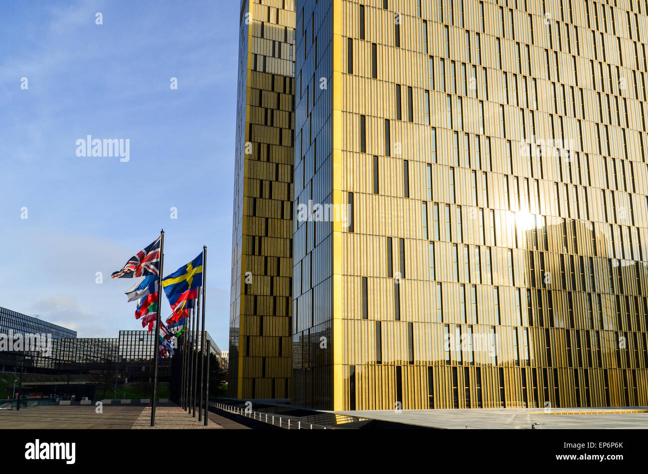 Golden twin towers of the Court of Justice of the European Union, in European Quarter, Kirchberg, Luxembourg - Stock Image