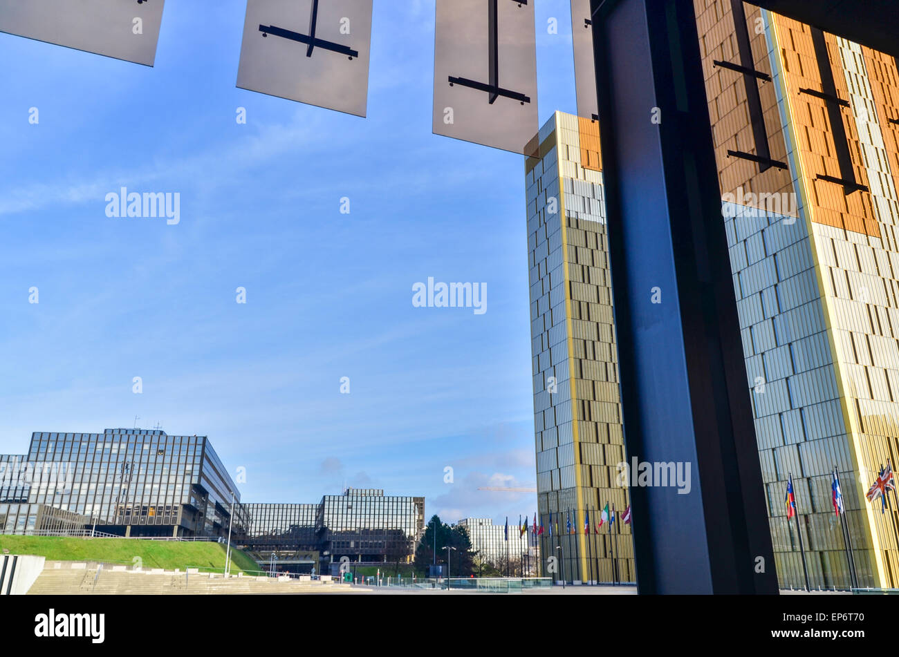 Golden twin towers and European Commission seen from the Court of Justice of the European Union, in Kirchberg, Luxembourg Stock Photo