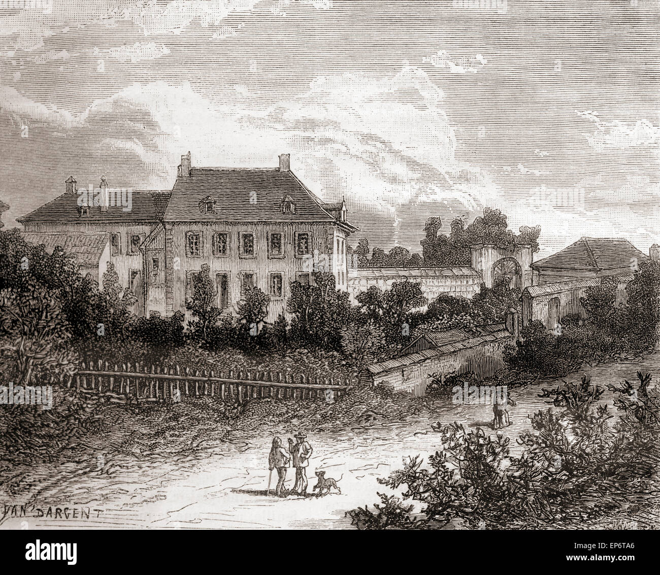 The house at Gras, near Chalon-sur-Saône, France where French inventor Nicephore Niepce developed heliography, - Stock Image