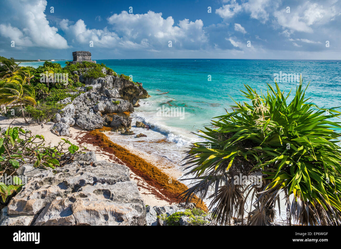 Templo del Dios del Viento (God of Winds Temple), Maya ruins at Tulum, Riviera Maya, Yucatan Peninsula, Quintana - Stock Image