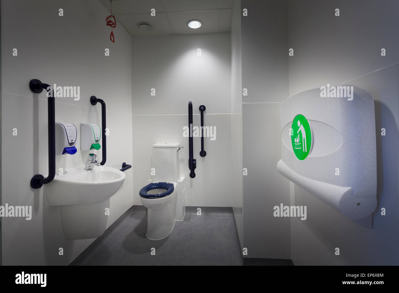 Disabled Toilet With Hand Basin And Fold Down Baby Changing Station