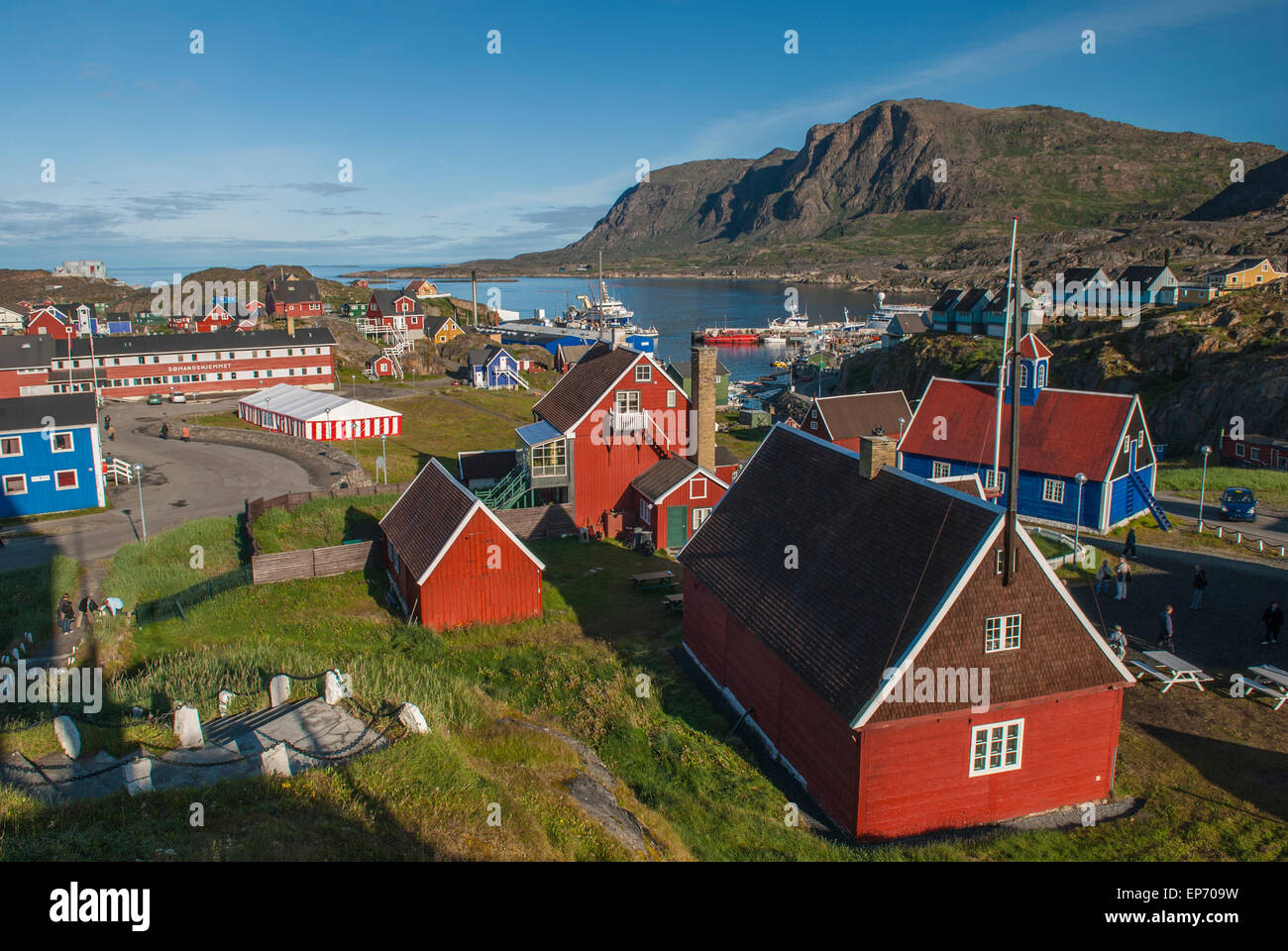 View of Sisimiut museum area and harbour in western Greenland during summer season. Taken gorgeous sunny day Stock Photo