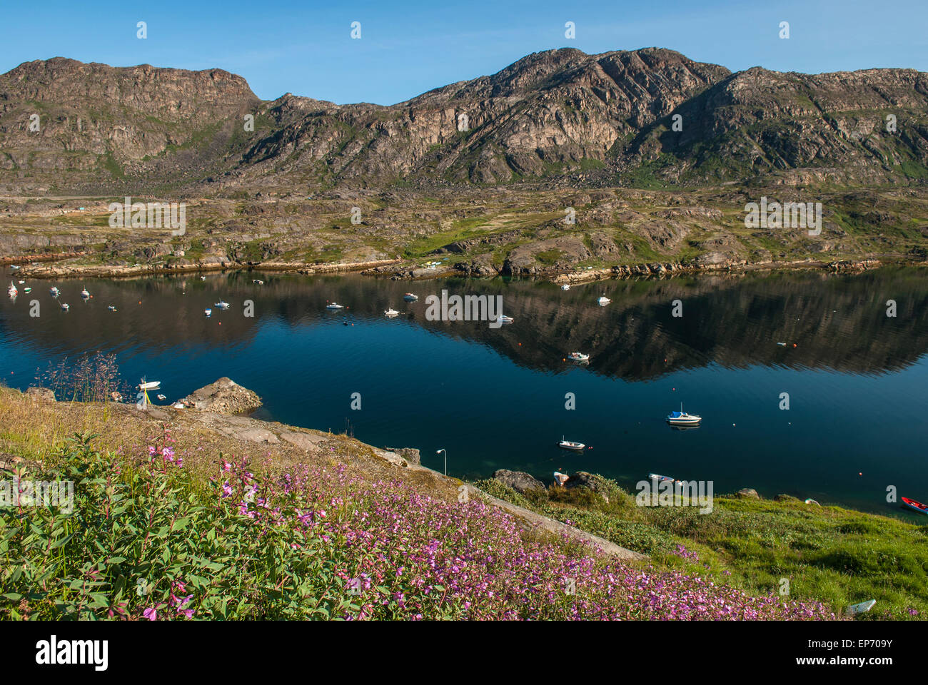 View over bay near Sisimiut in western Greenland, taken during summer Stock Photo