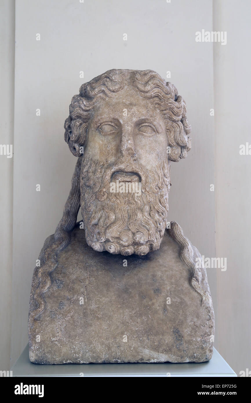 Herm of a bearded divinity. The prototype imitates the Attic art of the 5th-4th c. BC. Idenfied Hermes or Dionysus. - Stock Image