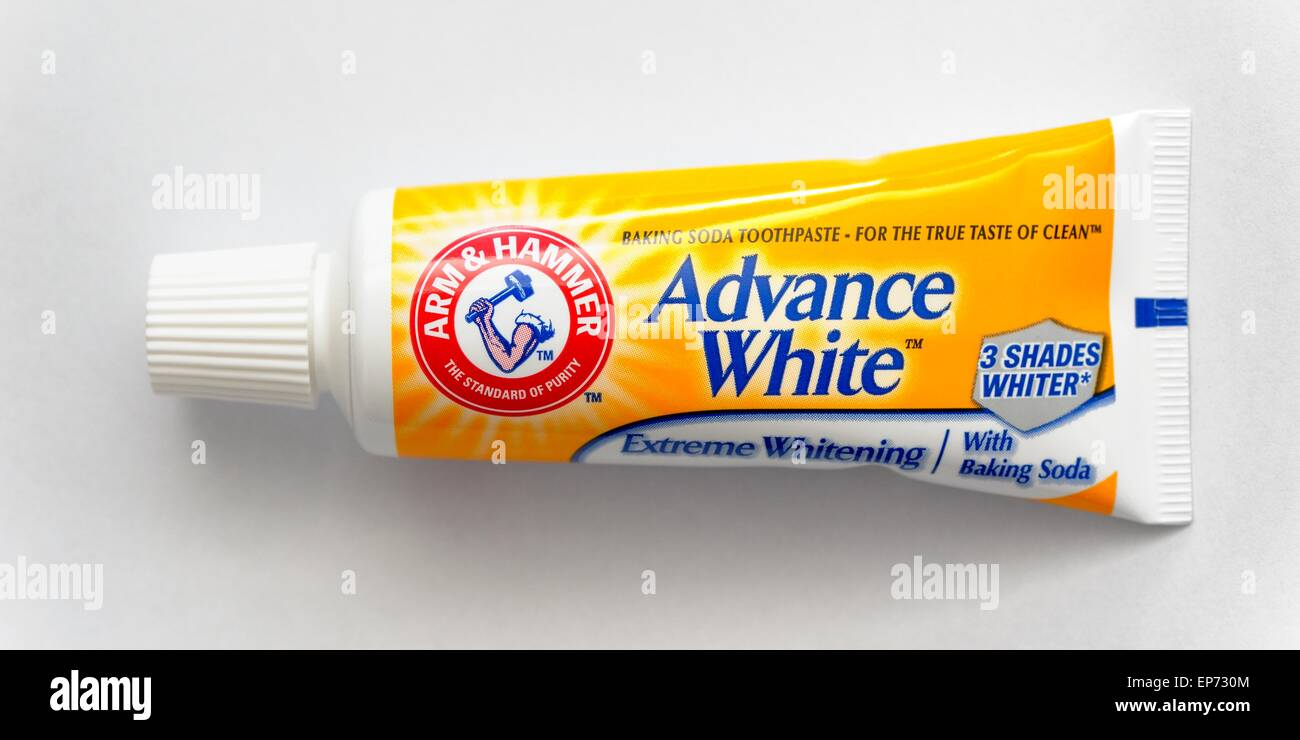 A tube of Arm and hammer advance white toothpaste travel handy size - Stock Image