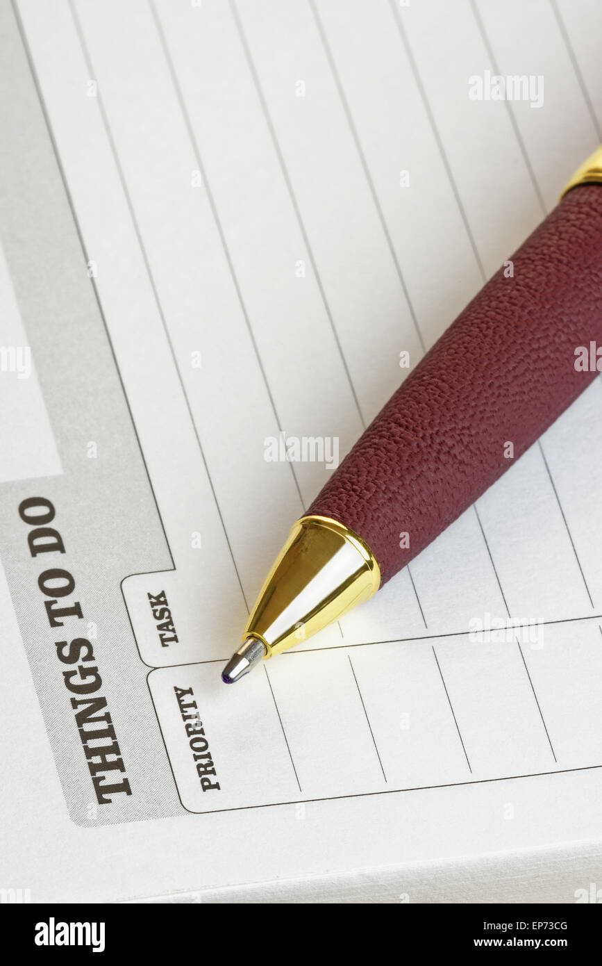 'Things To Do' pad with pen. Business/ Organisation concept Stock Photo
