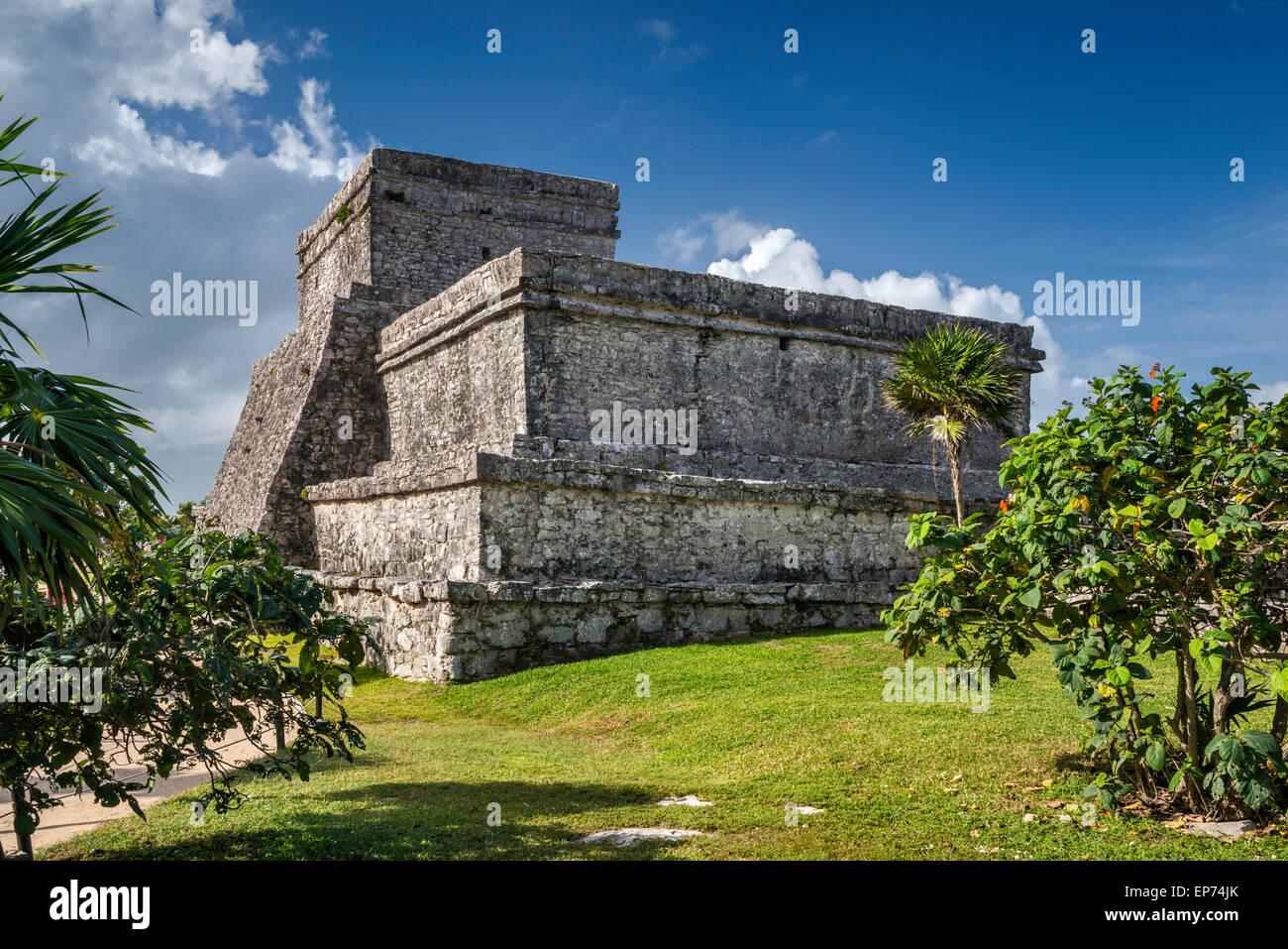 El Castillo (The Castle), Maya ruins at Tulum, Yucatan Peninsula, Quintana Roo state, Mexico - Stock Image