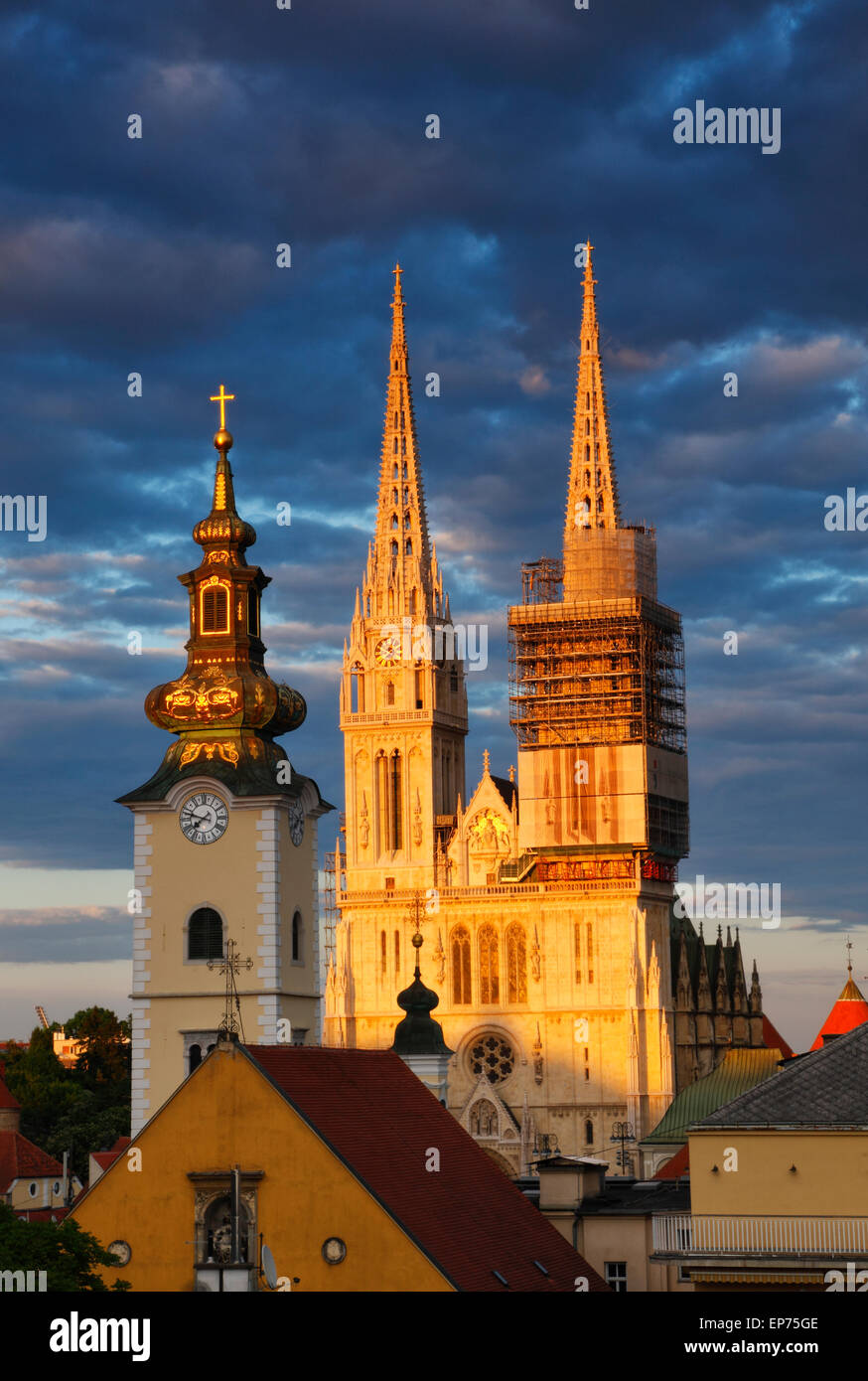 Zagreb Cathedral at sunset with beautiful clouds - Stock Image