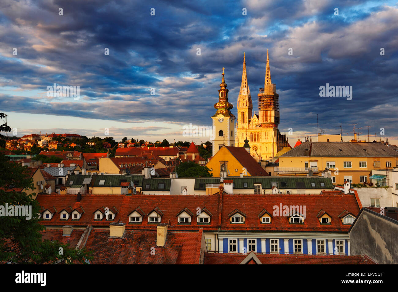 Zagreb Cathedral at sunset with coluds - Stock Image