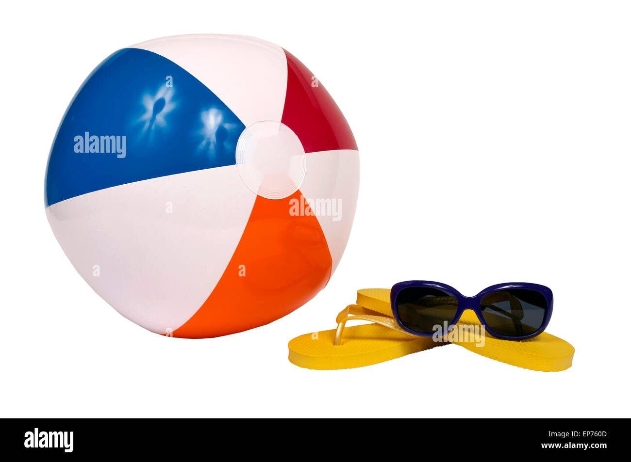 Beach Accessories With Beach Ball Flip Flops And Sunglasses Isolated Stock Photo