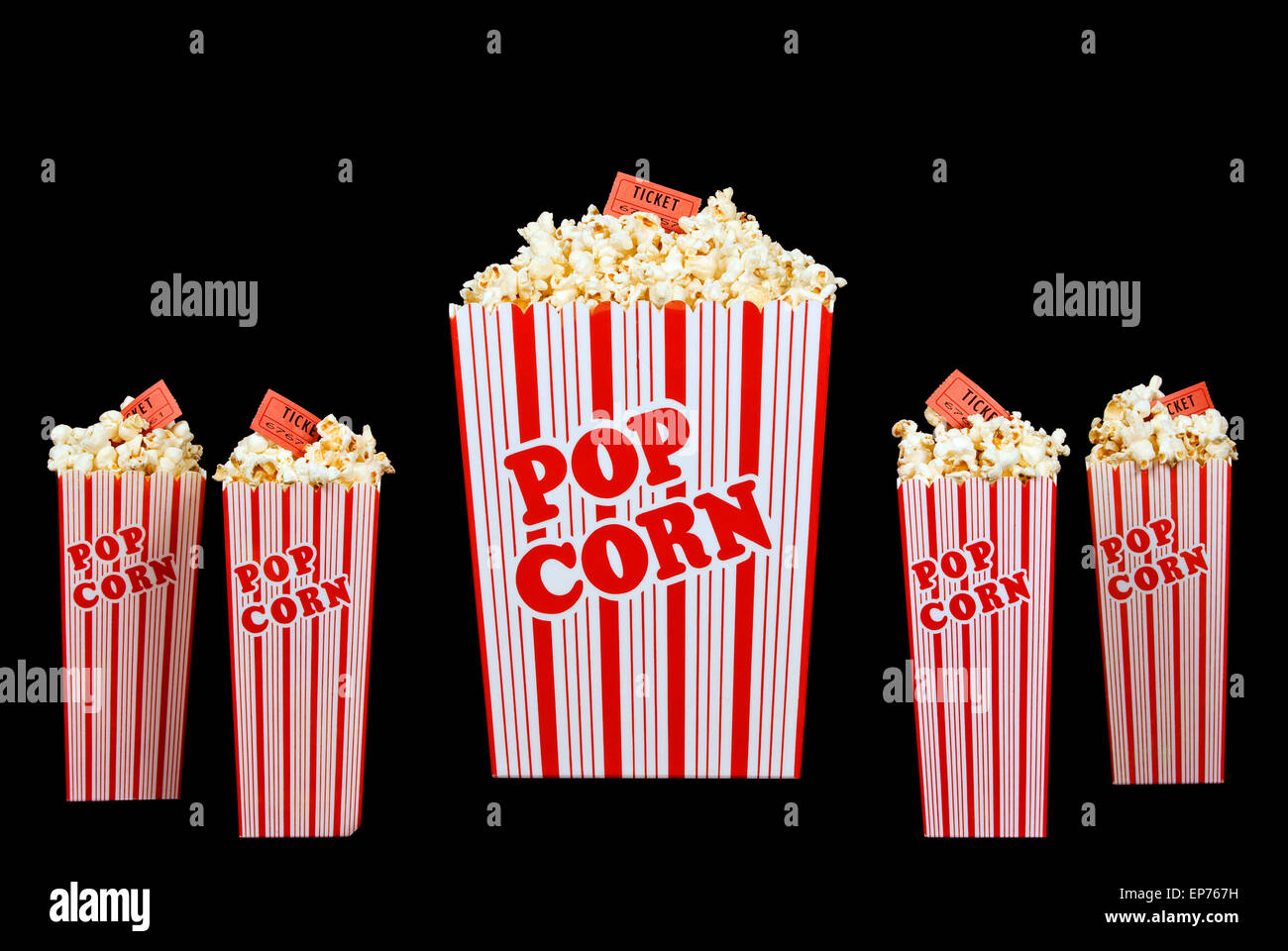 Family Time At The Movies With Popcorn In Buckets With Red Tickets - Stock Image