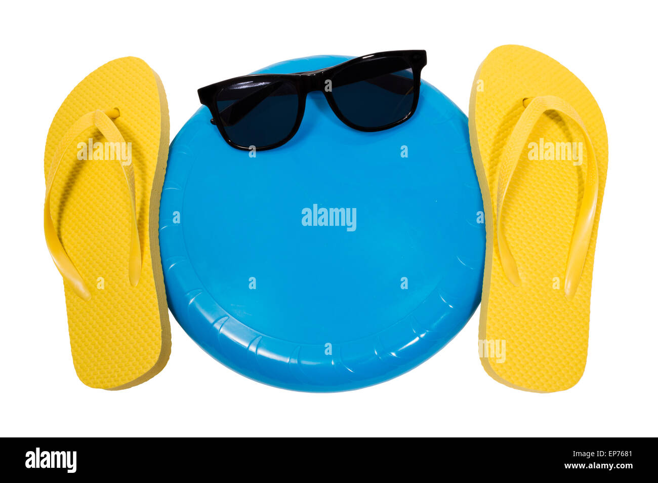 Flip Flops And Frisbee Summer Fun Outdoors - Stock Image