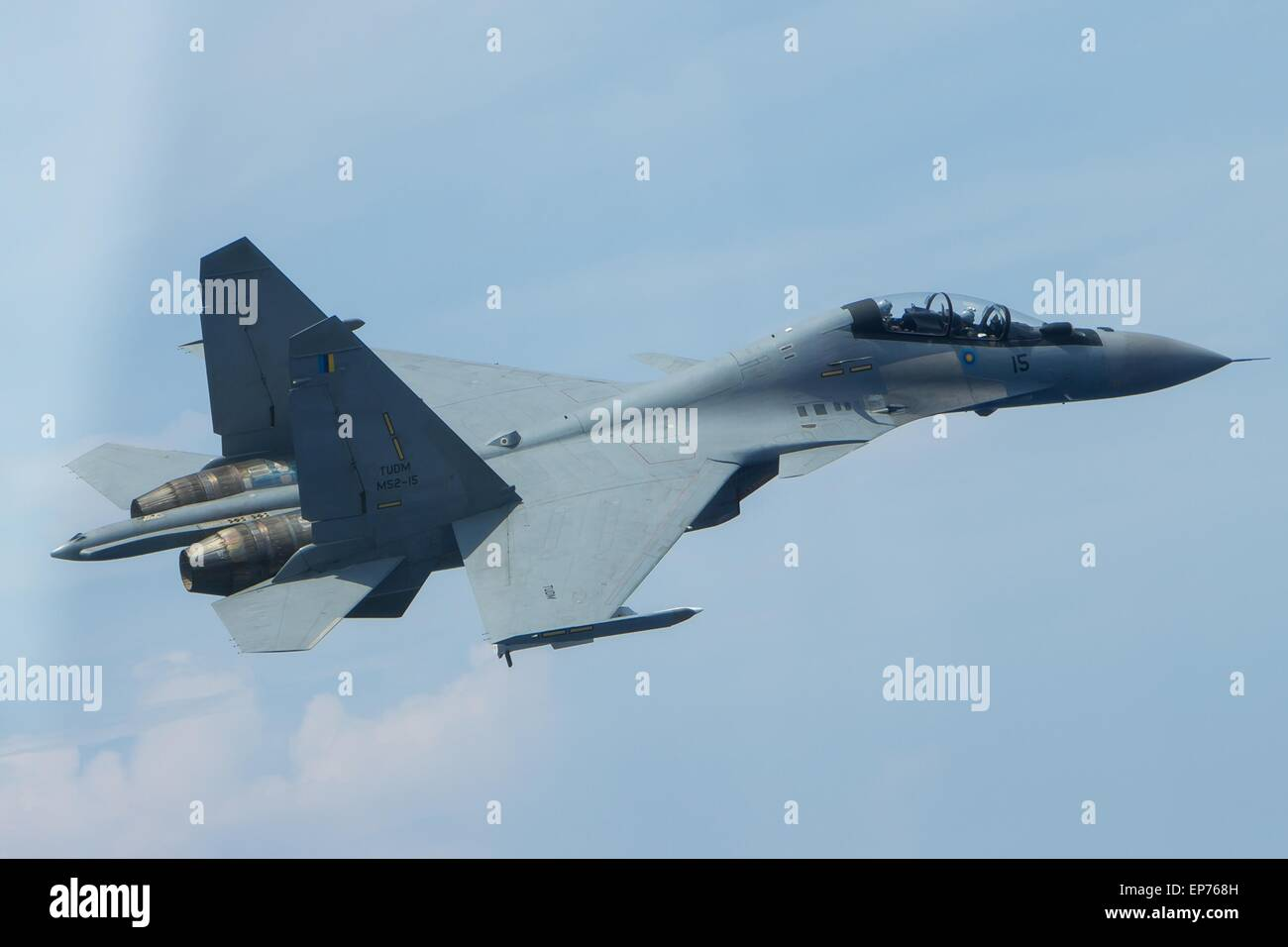 A Russian made Royal Malaysian Air Force Sukhoi SU-30MKM Flanker H fighter during a joint exercise with the aircraft - Stock Image