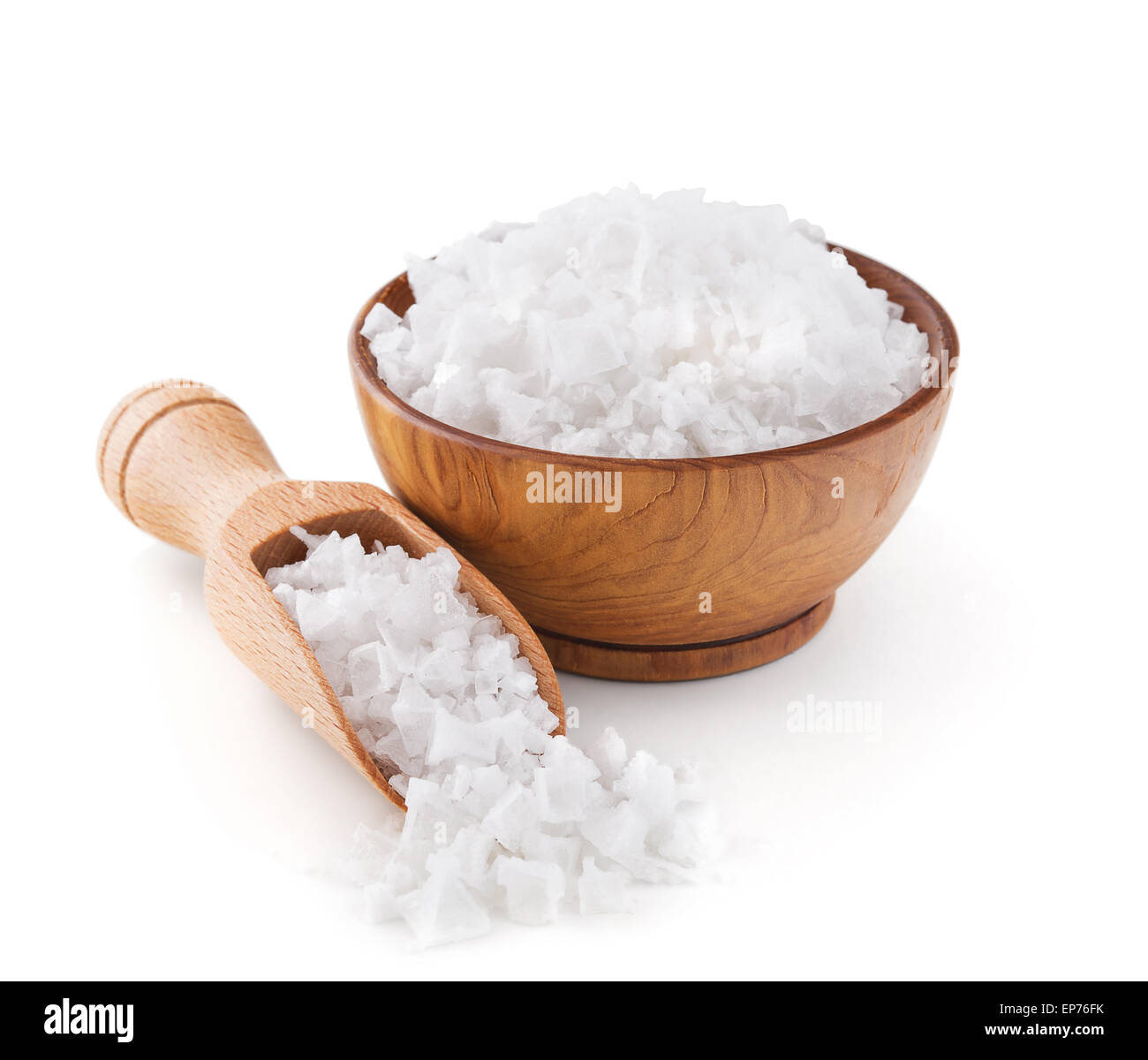 Cyprus sea salt flakes in a wooden bowl - Stock Image