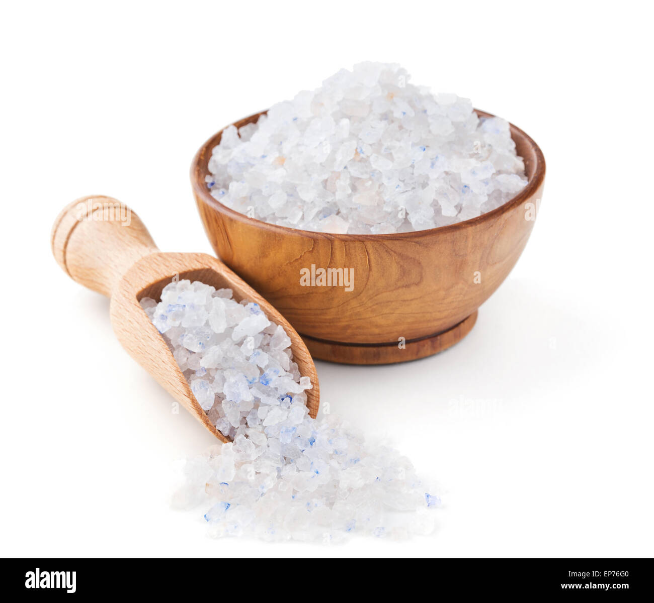 Persian blue salt in a wooden bowl - Stock Image