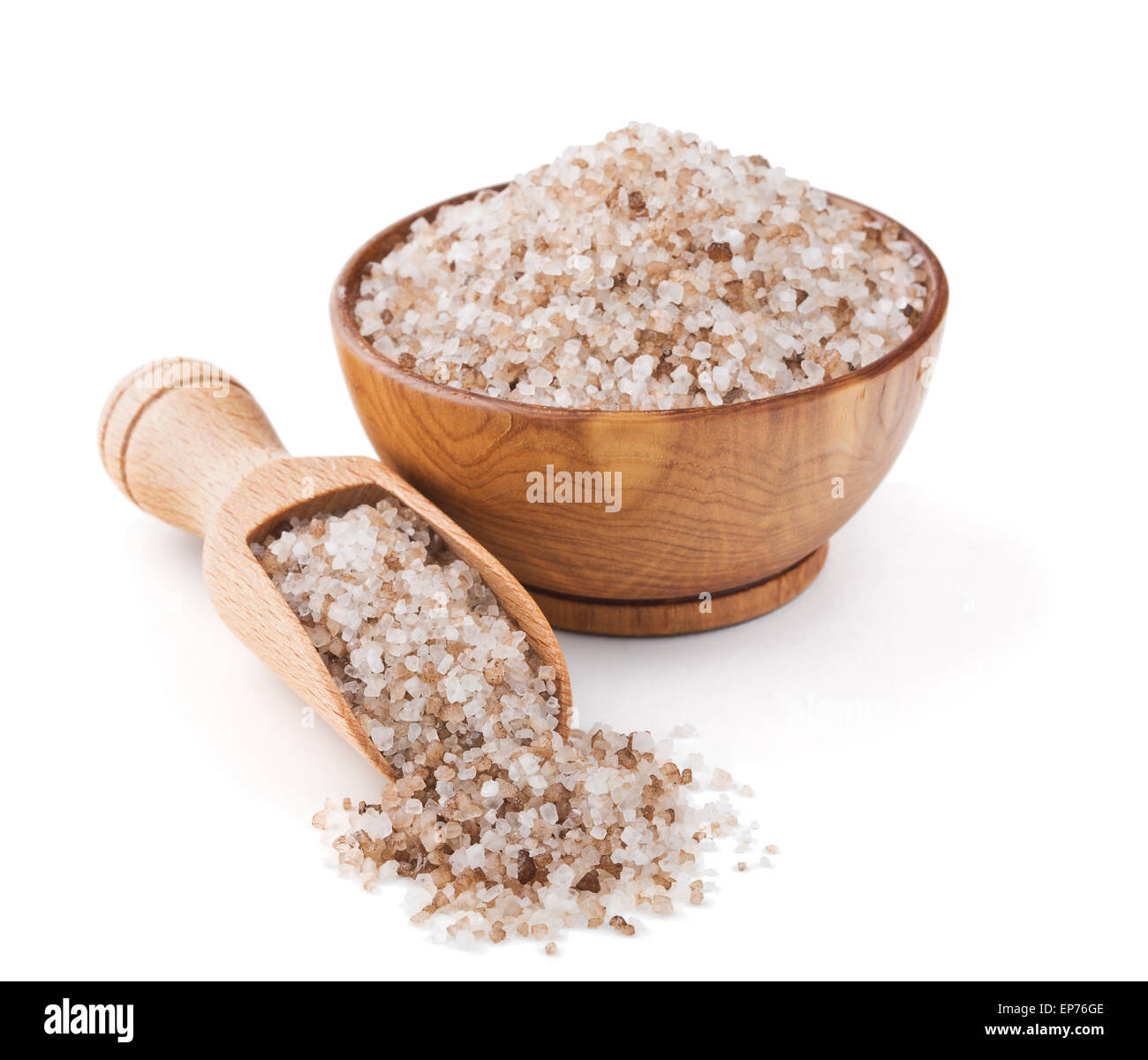 Danish smoked salt in a wooden bowl - Stock Image