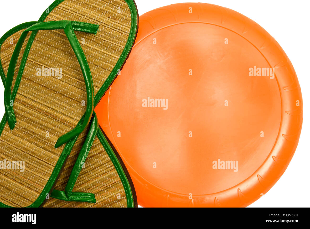 813f81fd0 Summer Sandals With Frisbee Disc and Copy Space Isolated on white. - Stock  Image