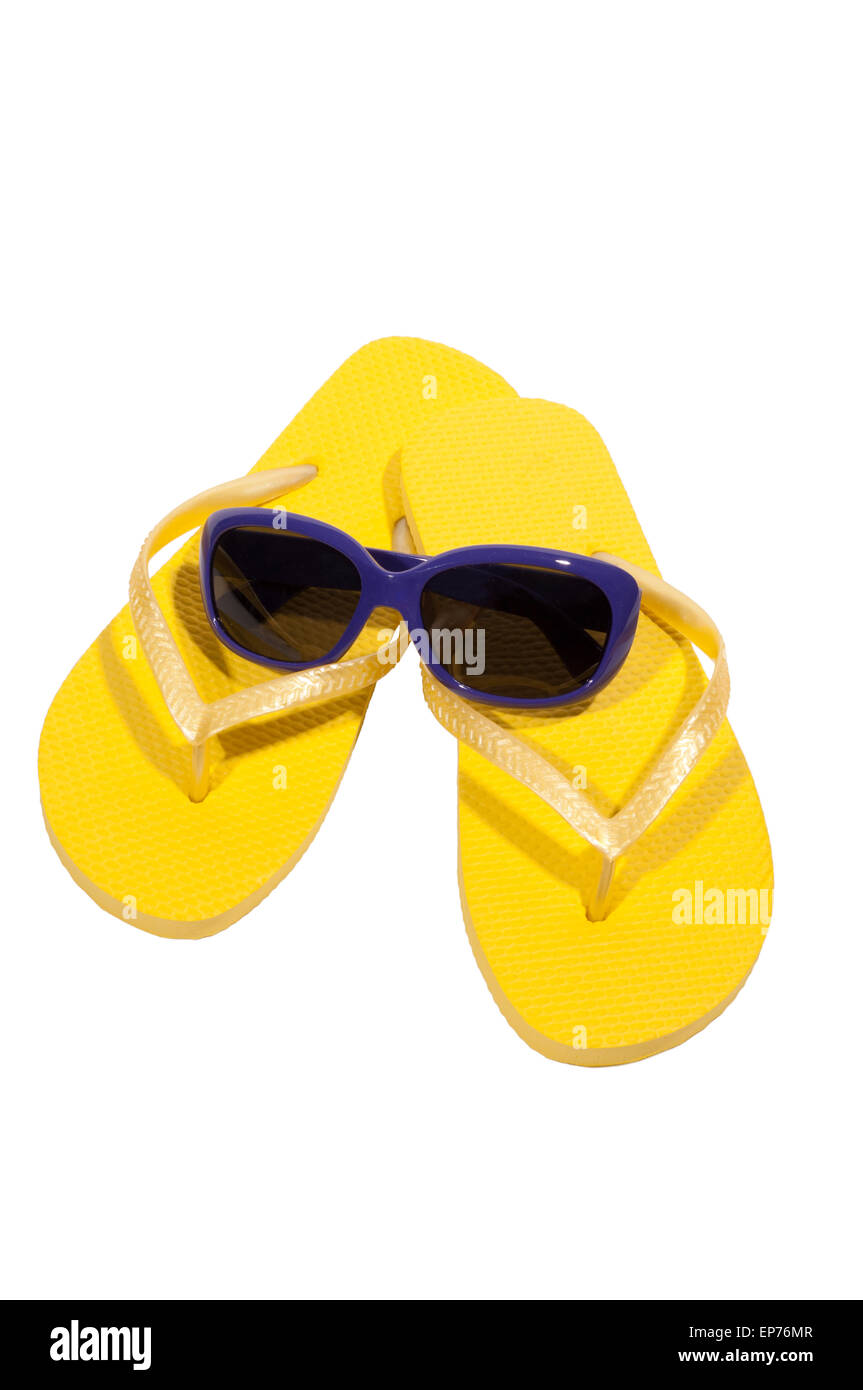 Vacation Time Summer Yellow Flip Flops With Sunglasses Isolated On White - Stock Image