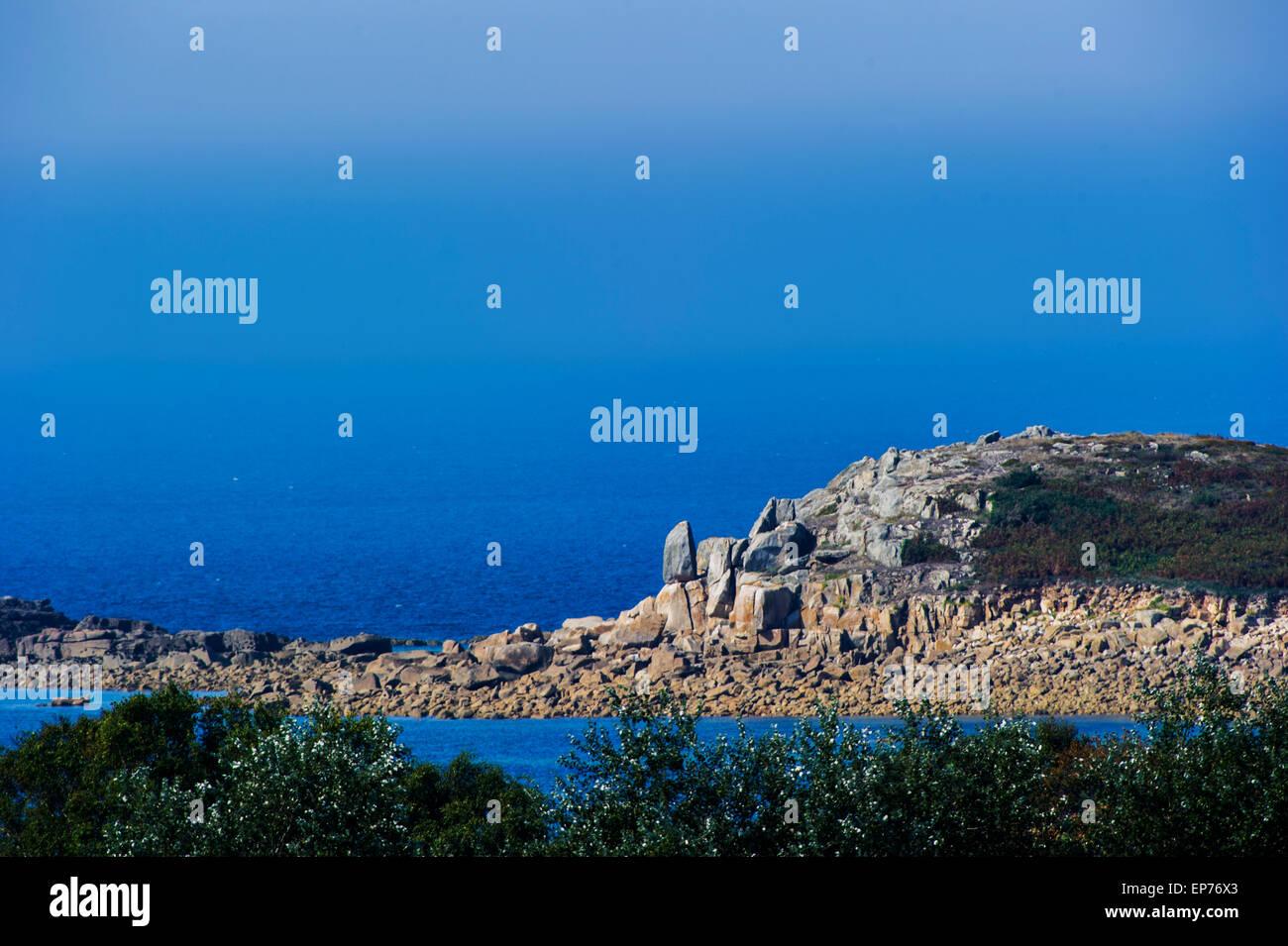 Küstenformation in der Bretagne - Stock Image