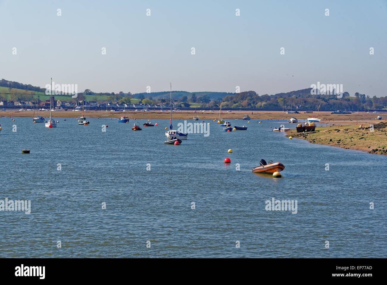River Exe near Exmouth, civil parish and seaside resort in East Devon. - Stock Image