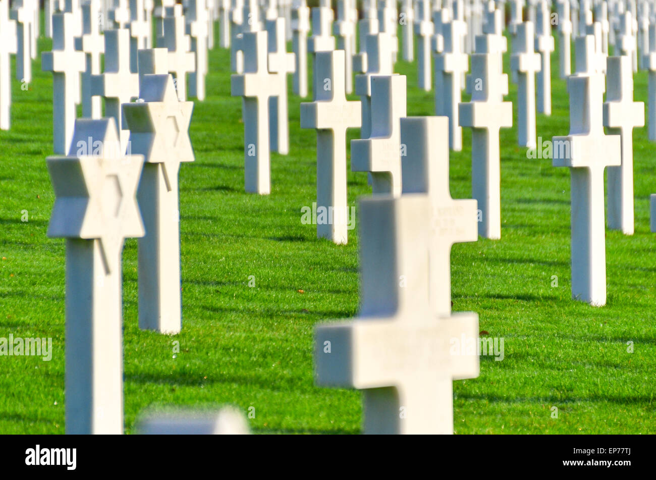 Jewish US solder graves among 5000 at the Luxembourg American Cemetery and Memorial who died during World War II - Stock Image