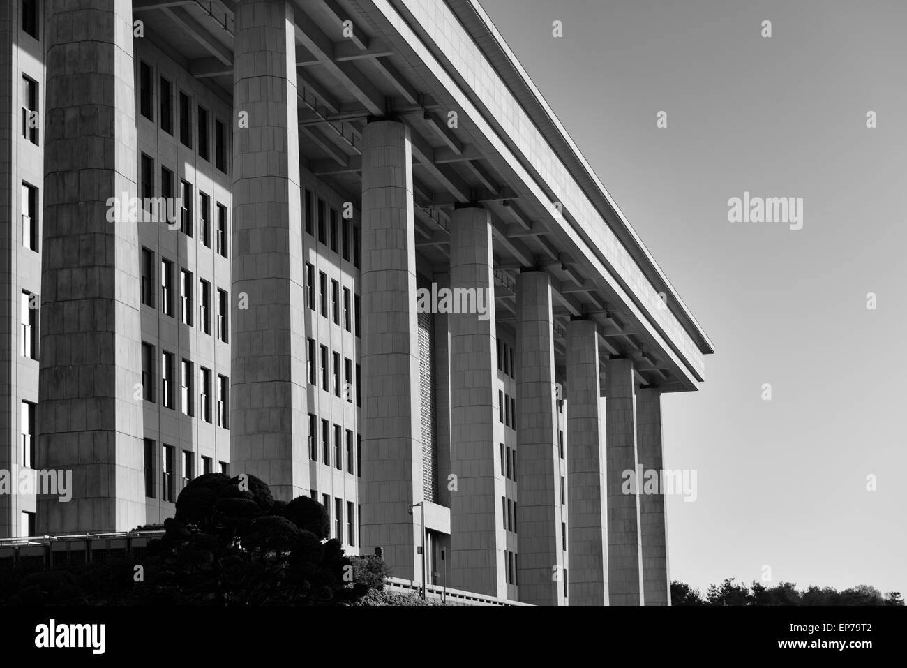 Black and white of the imposing facade of the National Assembly of South Korea in Seoul. - Stock Image