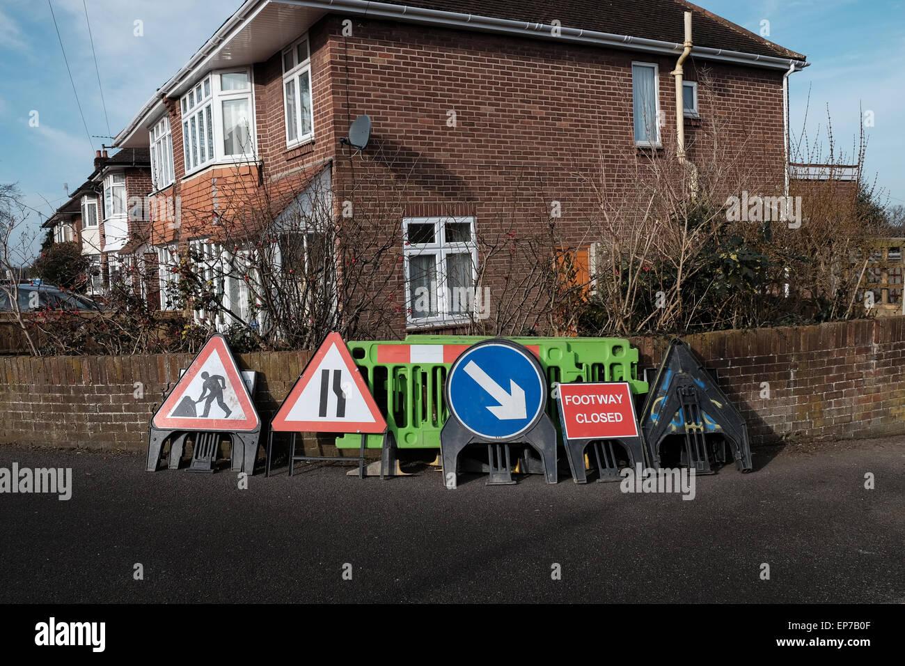 Variety of roadwork signs Stock Photo
