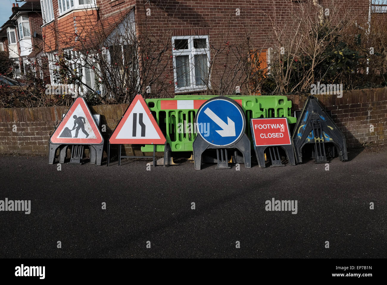 Variety of roadwork signs - Stock Image