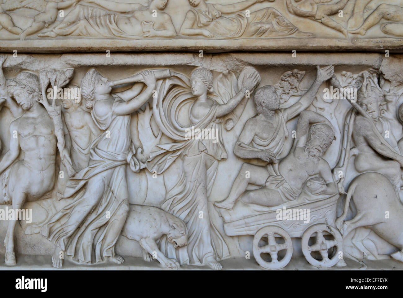 Sarcophagus with Dionysiac ceremonial procession. 2nd century AD. Roman. Italy. - Stock Image