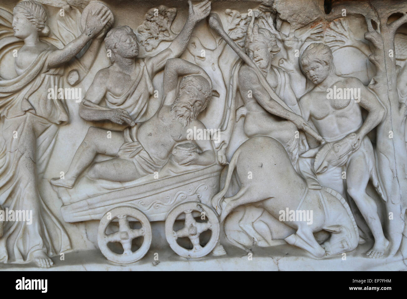 Sarcophagus with Dionysiac ceremonial procession. 2nd c. Roman. Detail relief. - Stock Image