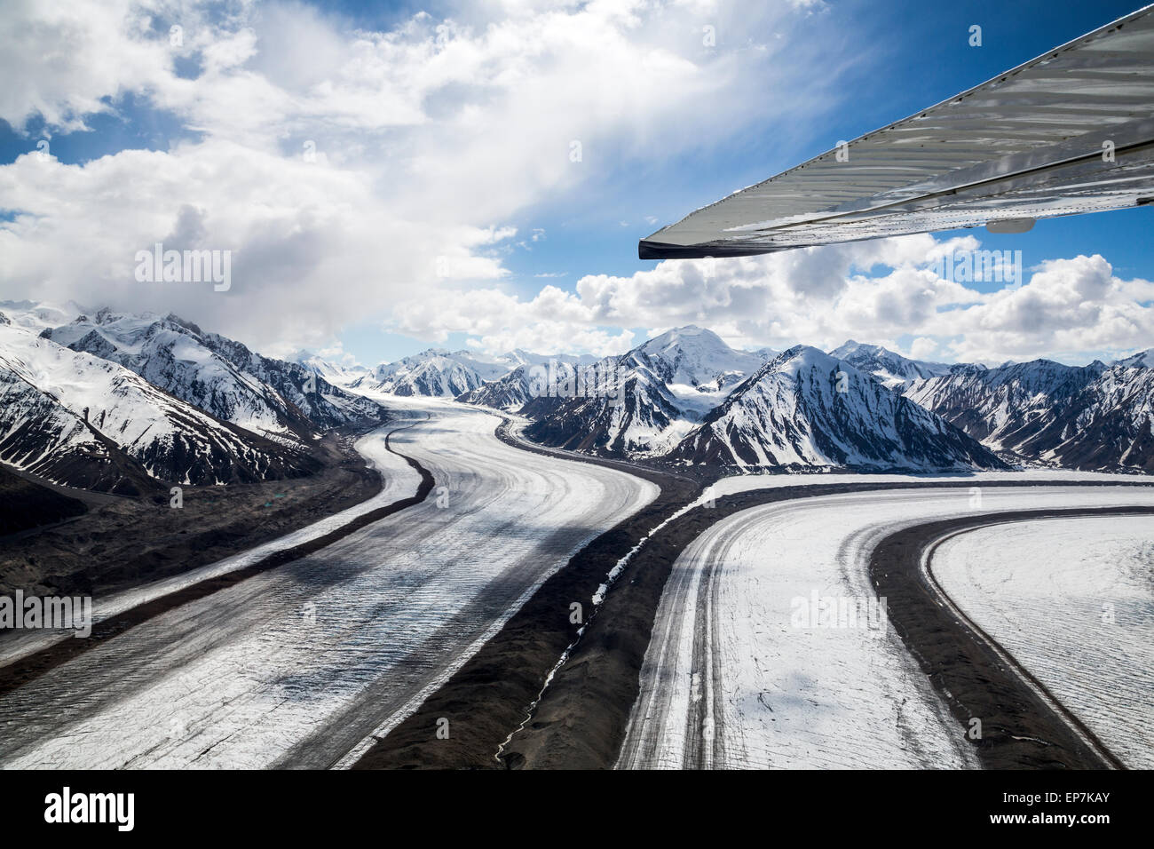 Scenic Flight over the glaciers of the Kluane National Park, Yukon Territory of Canada - Stock Image