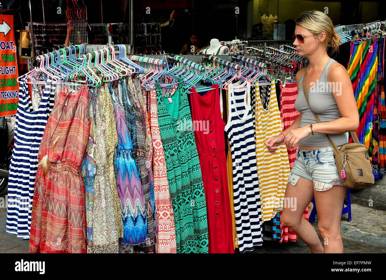Bangkok Thailand Woman Looking At Women S Clothing Display At A Stock Photo Alamy