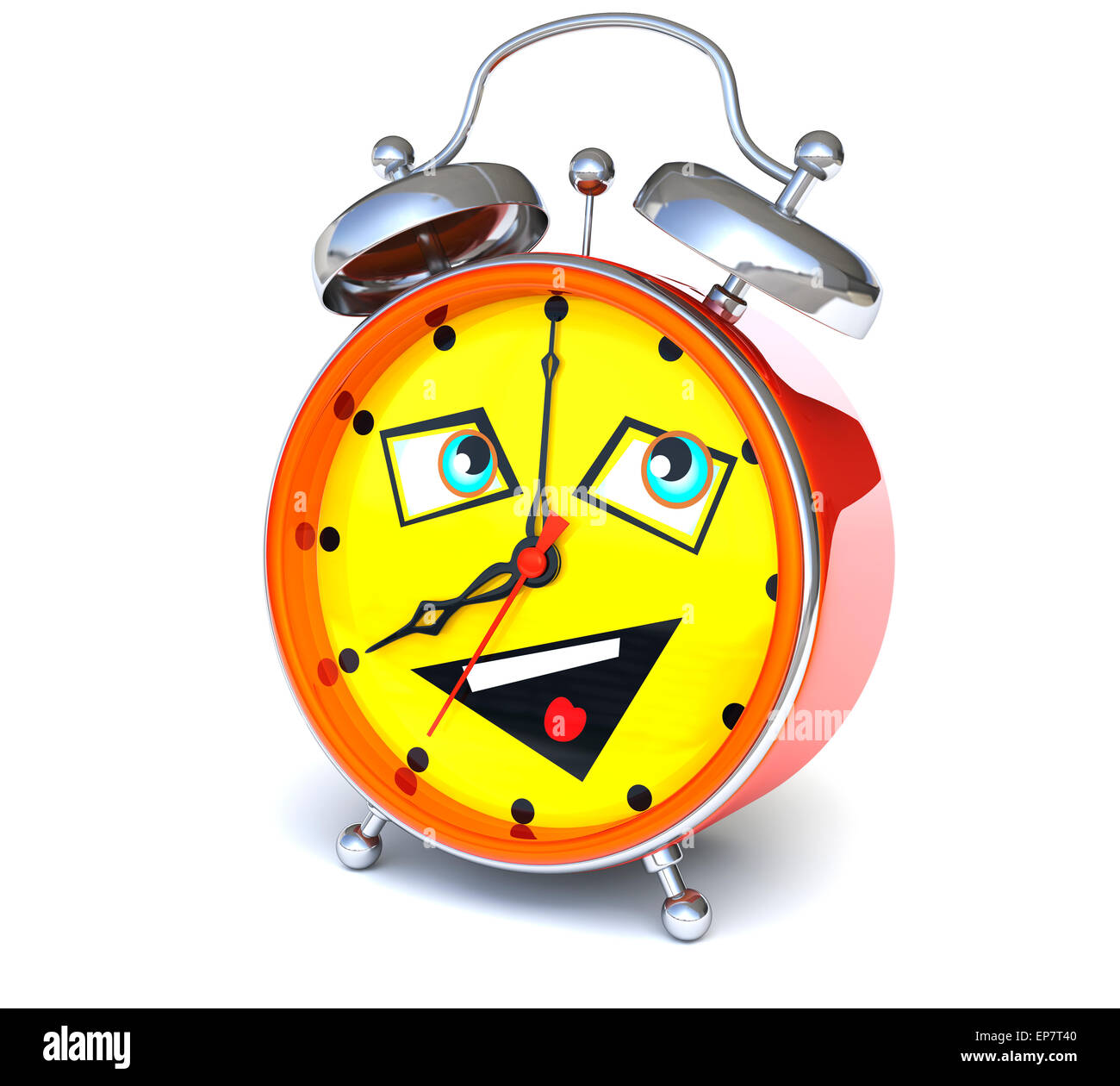 Alarm clock with smiley face - Stock Image