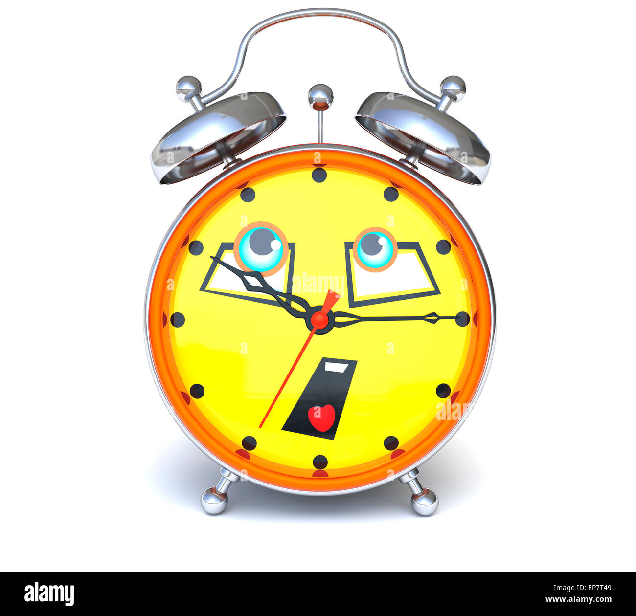Alarm clock with face - Stock Image