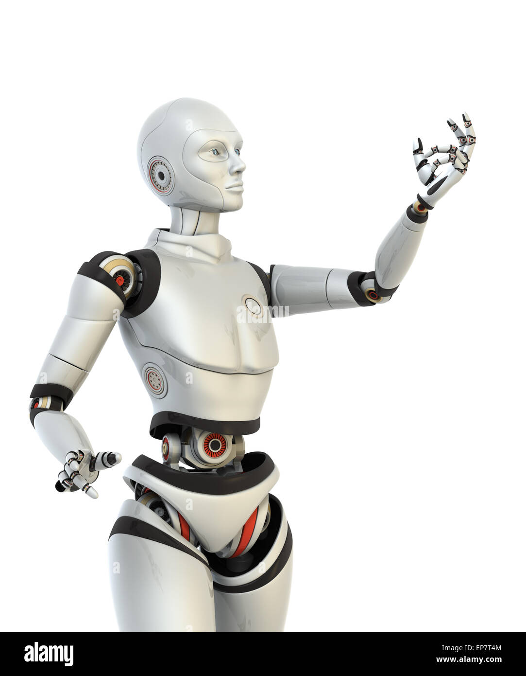 Robot holds something in his hand. Clipping path included - Stock Image