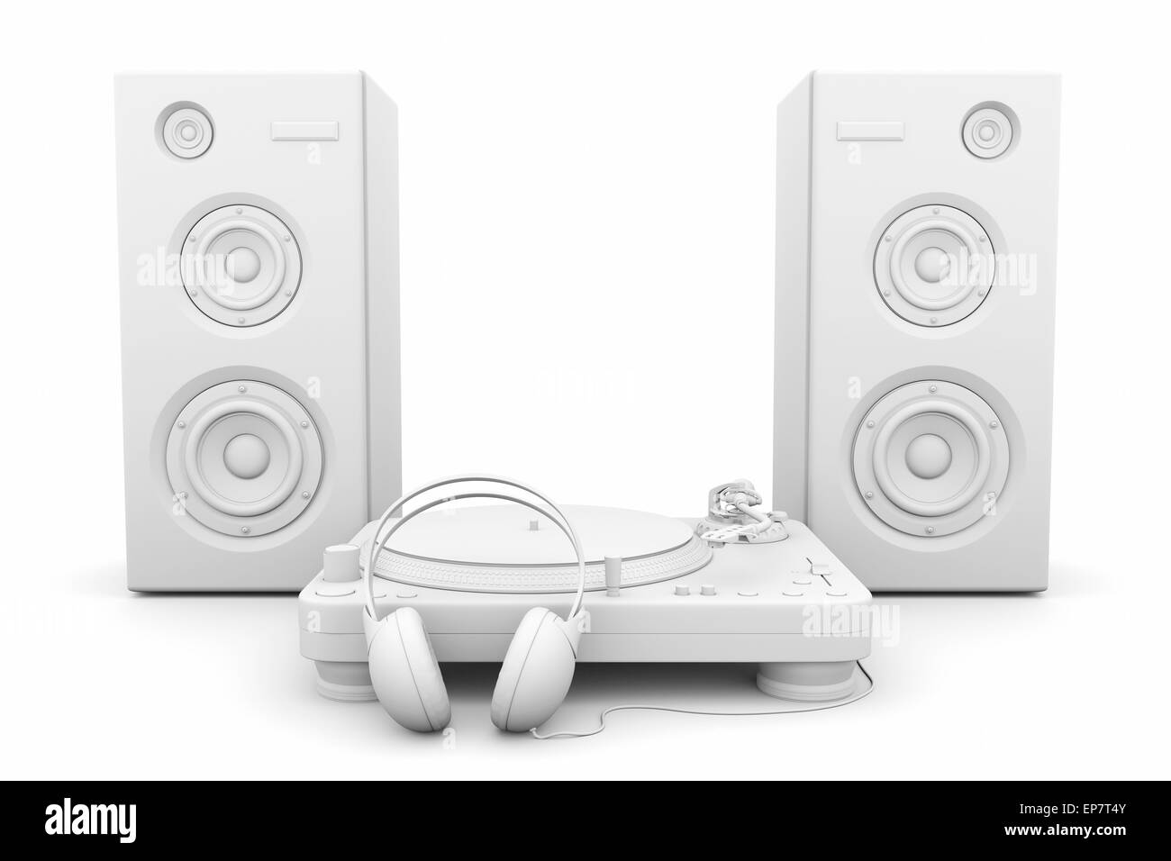 Record player, headphones and speakers on white background - Stock Image